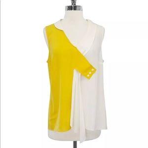 Maeve- Yellow & White Silk Dyad Tank Blouse